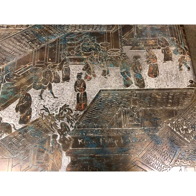 Asian Philip and Kelvin LaVerne Etched Bronze Waterfall Side Table For Sale - Image 3 of 8