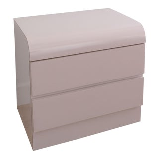 1980s Postmodern Lacquered Blush Two Drawer Nightstand For Sale