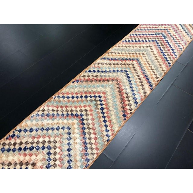 Vintage Geometric Design Turkish Anatolian Wool Runner For Sale In Phoenix - Image 6 of 11