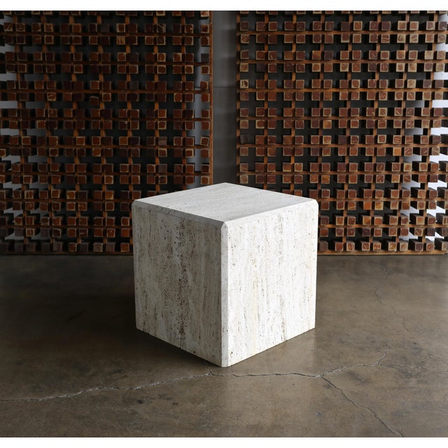 Travertine Cube Side Table, Circa 1980 For Sale - Image 9 of 9
