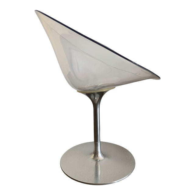 Lucite and Chrome Swivel Chair by Philippe Starck For Sale