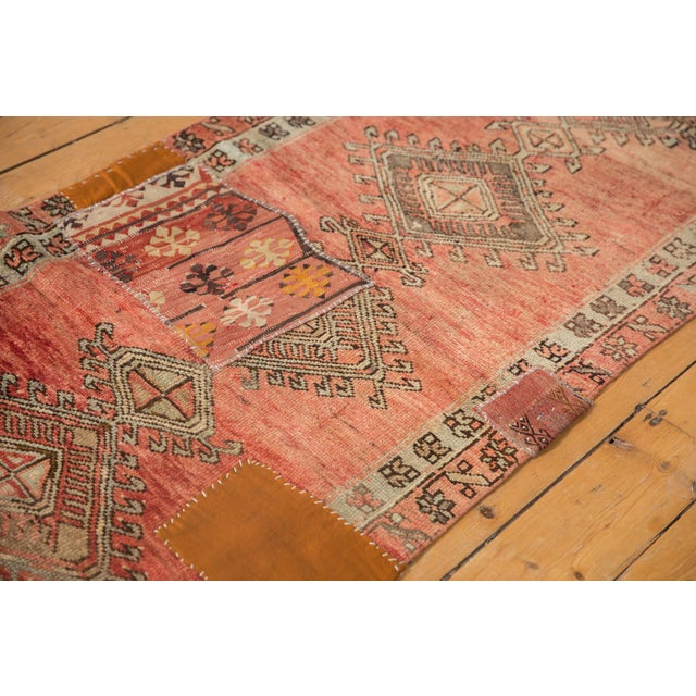 "Vintage Distressed Patchwork Oushak Rug Runner - 2'10"" X 10'7"" For Sale - Image 9 of 12"