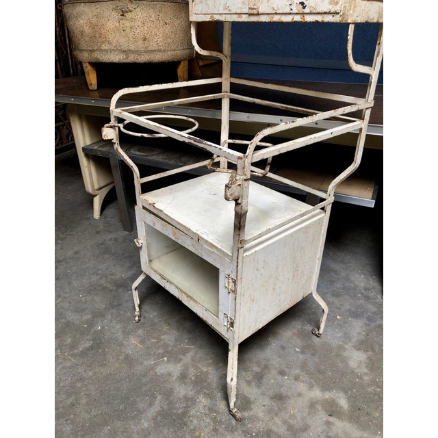 1930's Vintage American Painted Steel Supply Cabinet For Sale - Image 4 of 11