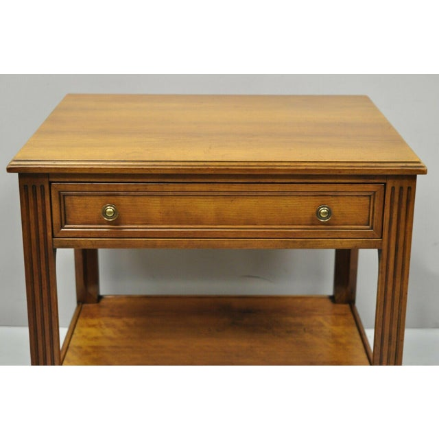 French 20th Century French Kindel Belvedere 1 Drawer Cherry Lamp Side Table For Sale - Image 3 of 12