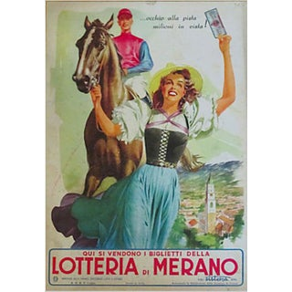 Italian 1930s Lottery Ad with Horse