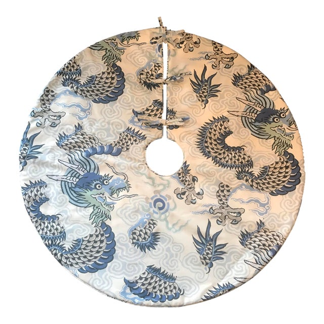 Blue and Grey Dragon Patterned Christmas Tree Skirt For Sale
