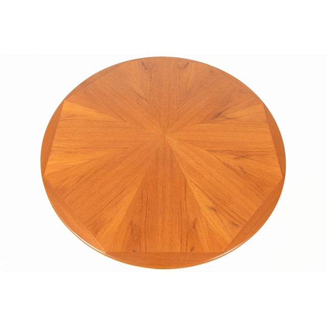 Danish Modern Round Starburst Teak Coffee Table - Image 5 of 9