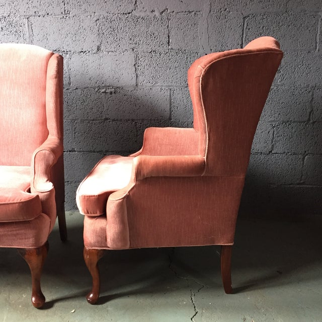 Textile Pink Wingback Armchairs - A Pair For Sale - Image 7 of 11