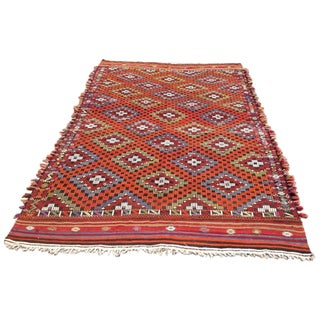 Vintage Handwoven Turkish Kilim Rug - 6' x 9'4""
