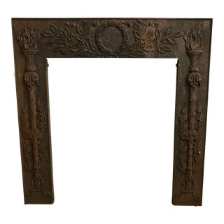 Wreath & Torch Motif Cast Iron Fireplace Surround For Sale