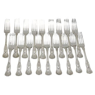 "Vintage Silver-Plate Kings Pattern Forks W/ ""D"" Monogram - Set of 18 For Sale"