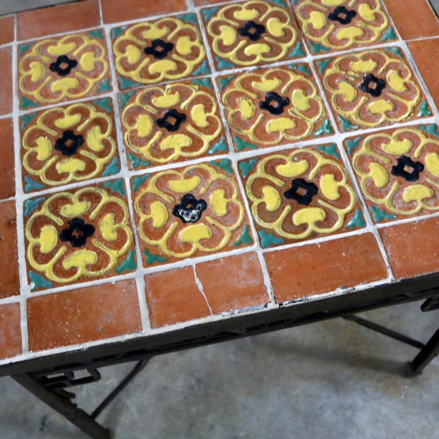 Art Deco Wrought Iron and Tile Side Table California Style Tiles For Sale - Image 9 of 11