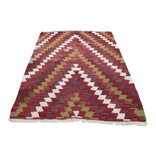 1960s Vintage Petite Turkish Tribal Handwoven Kilim Rug - 3′3″ × 4′1″ For Sale