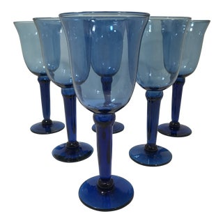Vintage Hand Blown Cobalt Blue Flare Top Wine Water Glass Goblets - Set of 6 For Sale