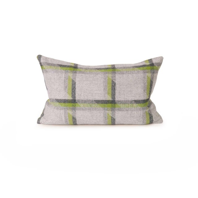 Lime Plaid Lambswool Throw + Lumbar Pillow Cover For Sale - Image 4 of 5