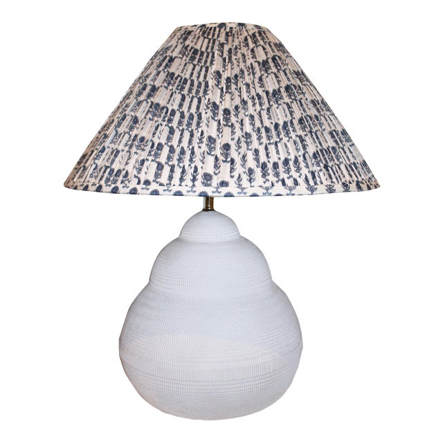 Gourd Pottery Lamp With Custom Shade For Sale