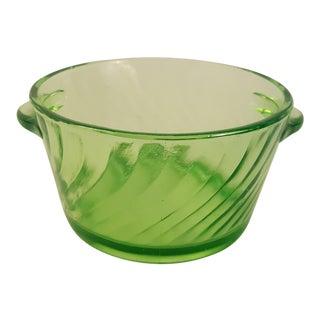 Anchor Hocking Spiral Vaseline Glass Ice Bucket