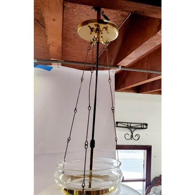 1960s Vintage Glass Globe Hanging Light Fixture For Sale - Image 10 of 13