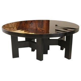 Black Lacquered Resin Round Coffee Table by Ado Chale C.1970s For Sale