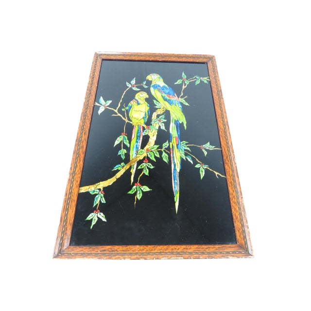 Black Antique Americana Folk Art Tinsel Painting of Tropical Birds For Sale - Image 8 of 9