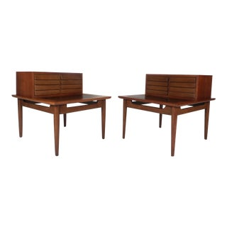 Pair of Walnut Step Nightstands by American of Martinsville