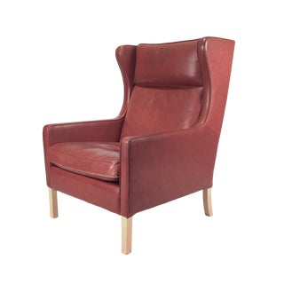 1960s Danish Modern Mogensen Highback Brick Red Leather Lounger For Sale