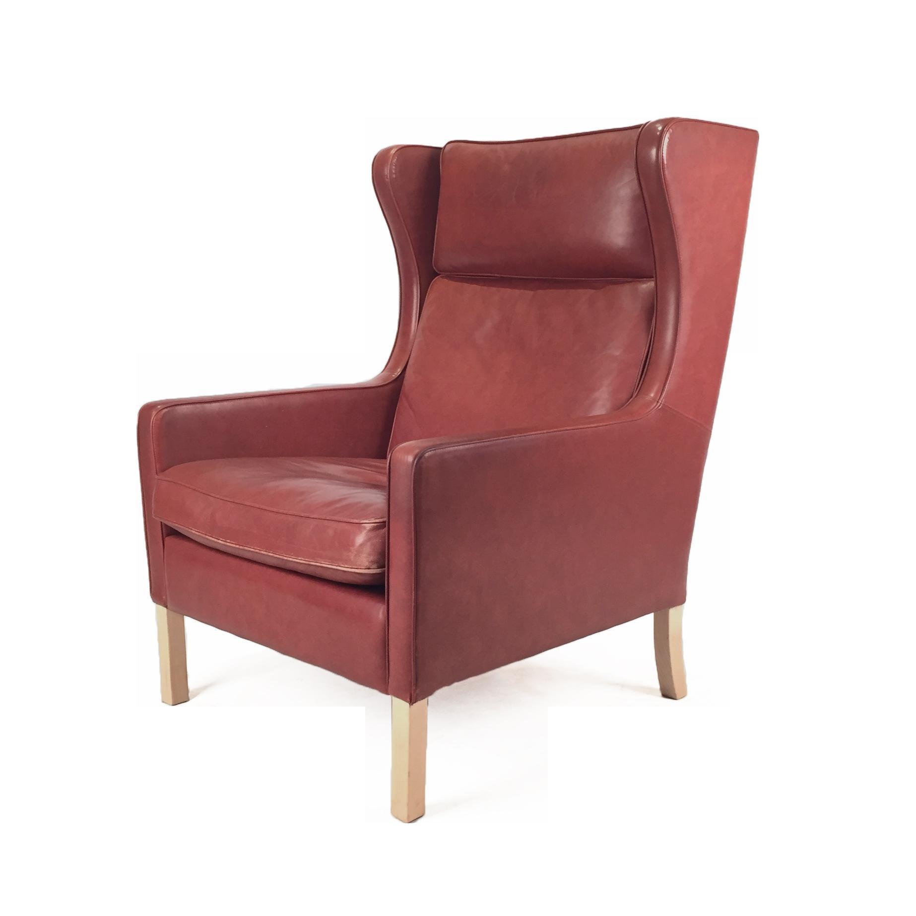 1960s Danish Modern Mogensen Highback Brick Red Leather Lounger