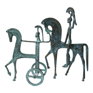 Etruscan Trojan Horse and Warrior Sculptures - a Pair