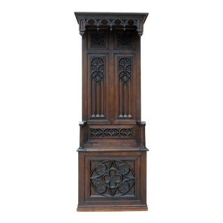 Antique French Carved Oak 19th Century Gothic Hall Seat Bench Throne Chair Settee Lift Top Storage For Sale