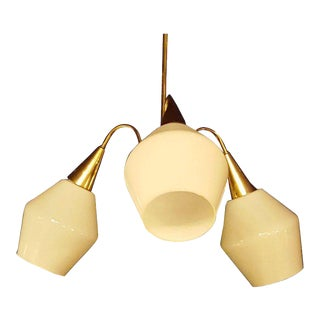 Mid-Century Danish Modern Milk Glass & Brass Chandelier