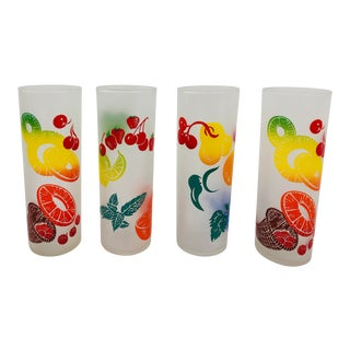 Vintage Tropical Fruit Cocktail Tumblers For Sale