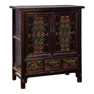 Painted Chinese Fretwork Two Door Cabinet For Sale