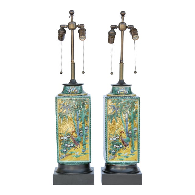 William Haines Chinese Ceramic Table Lamps - a Pair For Sale