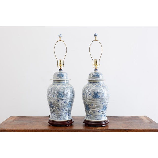 Mid 20th Century Chinese Porcelain Blue and White Ginger Jar Lamps For Sale - Image 5 of 12