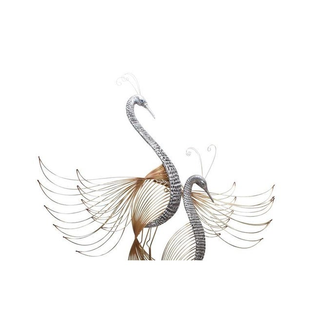 Wall sculpture 'Herons' by Curtis Jere. Brass, patinated brass, nickeled brass. For Artisan House, USA, 1988. An old stock...