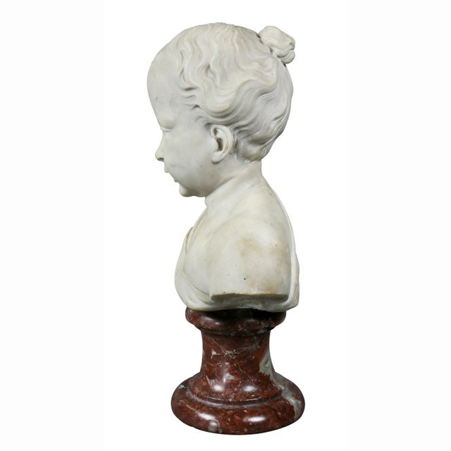 Late 18th Century Louis XVI Marble Bust of a Young Boy For Sale - Image 5 of 7