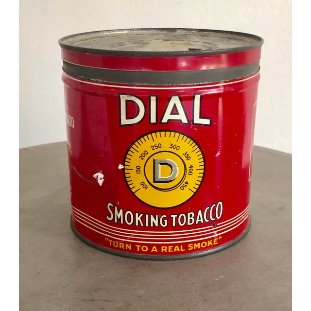 Vintage American tobacco tin with original labels in excellent condition.