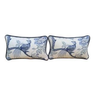 Blue & White Bird Print Pillows - a Pair