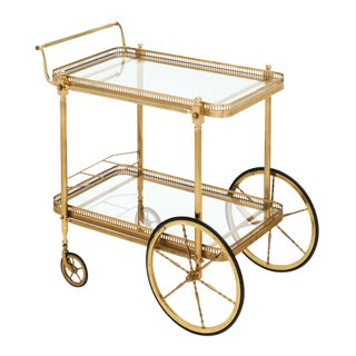 French Art Deco Period Brass Bar Cart For Sale