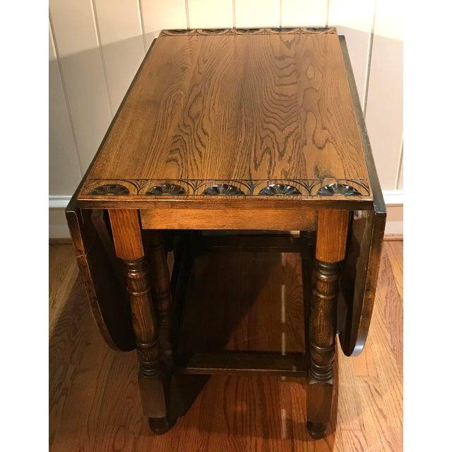 Vintage Carved Top Drop Leaf Table For Sale - Image 4 of 13