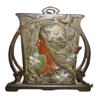 Antique Art Nouveau Bronze / Brass Woman With Flowers Bookends Book Holder For Sale