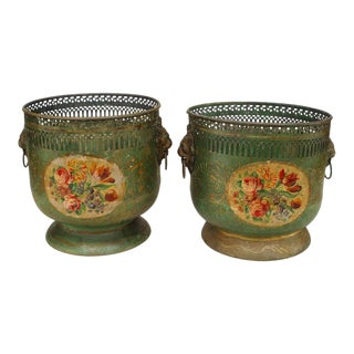 Pair of French Victorian Green Tole Cachepots For Sale