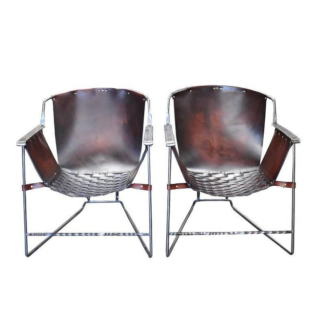 Custom Steel and Leather Hand-Forged Black and Brown Handmade Sling Chairs - a Pair For Sale - Image 12 of 12