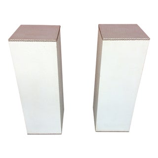Faux Ostrich Leather Pedestals Attributed to Maitland Smith - a Pair For Sale