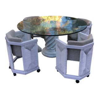 1970's Column Pedestal Glass Top Dining Set - 5 Pieces For Sale