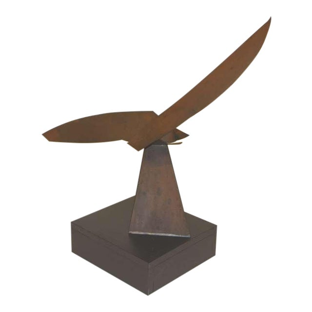 Exquisite Copper Sculpture on Wood Base For Sale