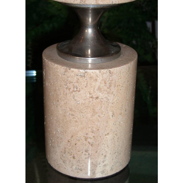 1970s Pair of Travertine and Nickel Table Lamps Attributed to Maison Barbier For Sale - Image 5 of 6
