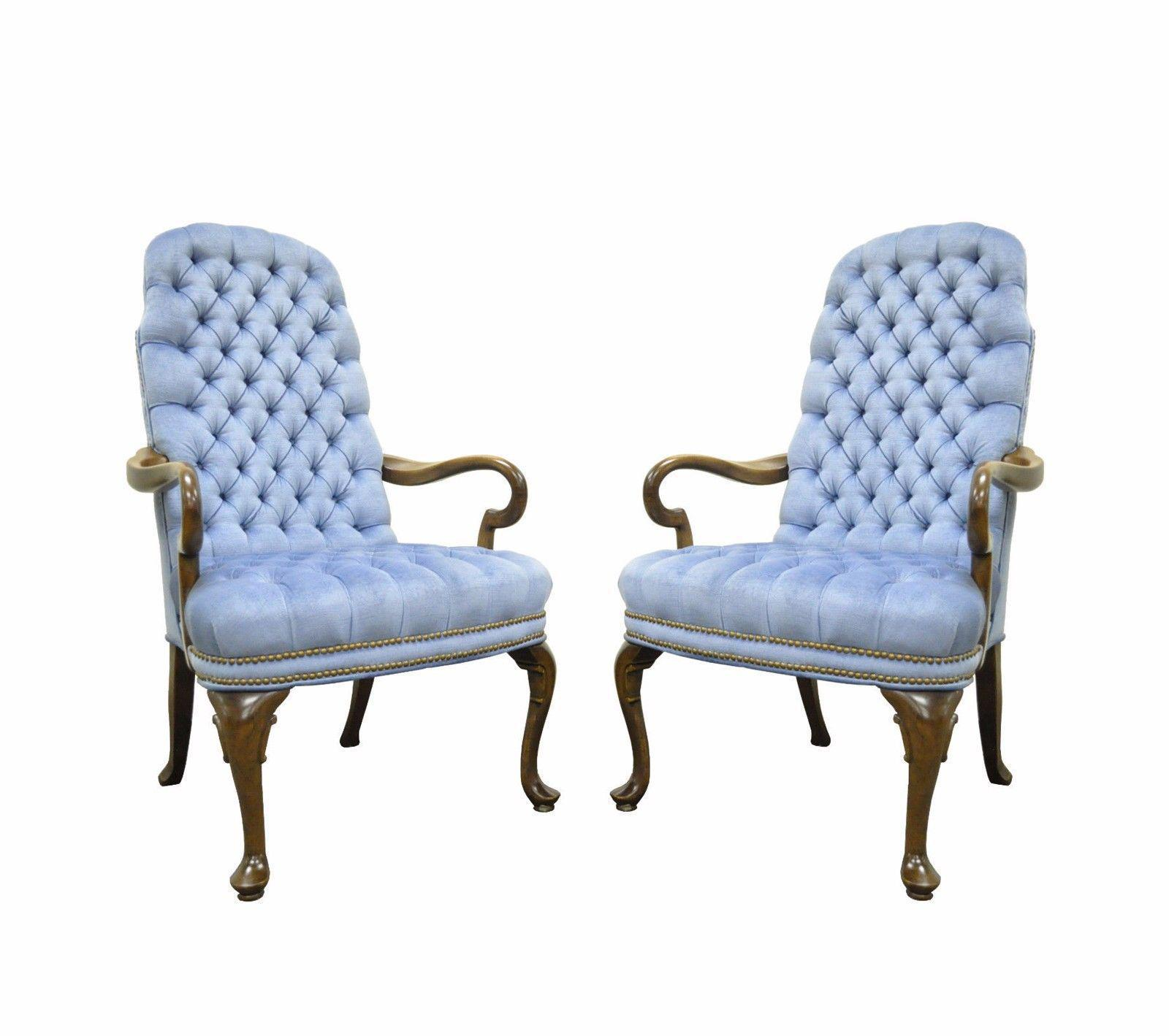 Vintage Queen Anne Ethan Allen Wingback Chairs   A Pair   Image 11 Of 11