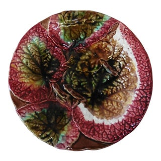 Late 19th Century Vintage English Majolica Begonia Leaf Plate For Sale