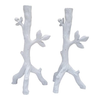 Vintage Signed Faux Branch Composite Plaster Candle Holders - a Pair For Sale